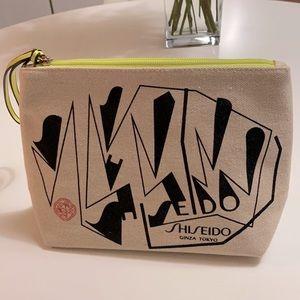 NEW Shiseido Tan Neon Green Cosmetics Bag